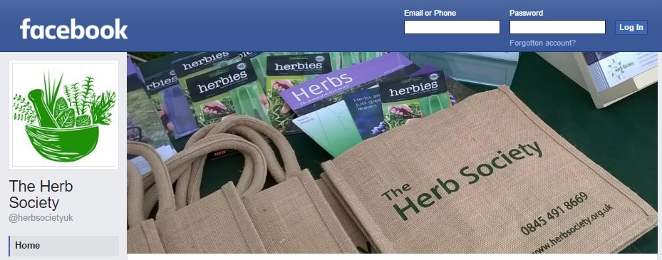 herb society facebook screen